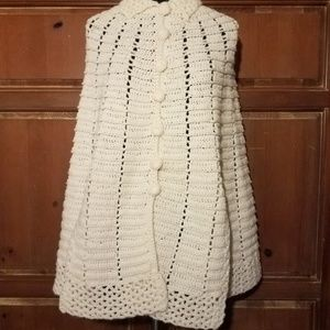 White Chunky Knit Cape Sweater